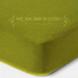 Prześcieradło frotte z gumką - zielone oliwka