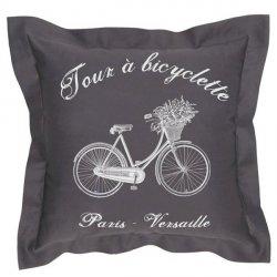 Poduszka dekoracyjna French Home - Bicyclette - szara