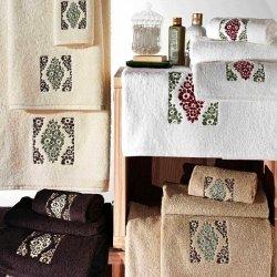 Komplet ręczników Tac - Trish - 3 szt. - białe ecru beżowe brązowe