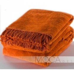 Koc Moca Design / frędzle - pomarańczowy