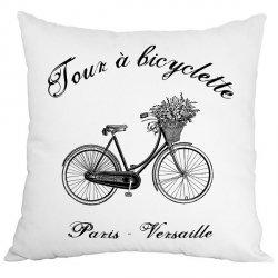 Poduszka French Home - Bicyclette - biała