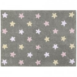 Dywan do prania w pralce - Lorena Canals TRICOLOR STARS - Rosa
