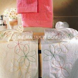 Komplet ręczników Tac - Big Flowers - 3 szt. - biały waniliowy różowy