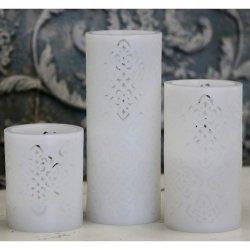 Świeca na baterie Chic Antique - Flower biała - 20 cm
