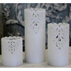Świeca na baterie Chic Antique - Lace biała - 20 cm