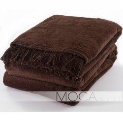 Koc Moca Design / frędzle - brązowy