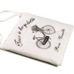 Poduszka na krzesło French Home - Bicyclette - biała