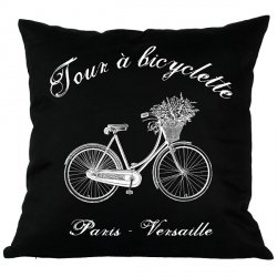 Poduszka French Home - Bicyclette - czarna