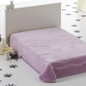 Kocyk Piel - Kotek 110x140 cm - niebieski różowy