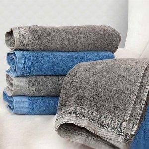 Ręcznik DENIM Koronka - niebieski szary
