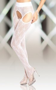 Crotchless Tights 5505 - white rajstopy open