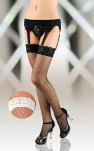 Stockings 5516 - white pończochy kabaretki do paska