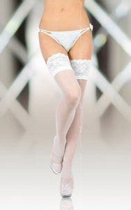 Stockings 5508 - white pończochy