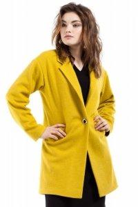 MOE213 Płaszcz wełniany limonkowy