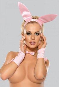 Uszy królika + mankiety + muszka 6625 różowy