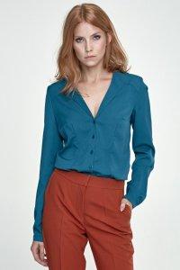 Koszula z nietypowym kołnierzem - zielony - K50