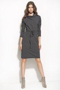 Sukienka podkreślająca talię z golfem - grafit - S57