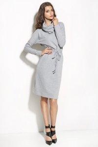 Sukienka podkreślająca talię z golfem - szary - S57