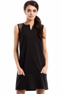 MOE232 Prosta sukienka bez rękawów czarna