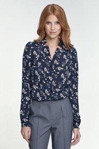 Bluzka z wycięciami - kwiaty/granat - B71