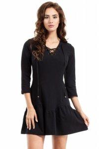 MOE244 Sukienka ze sznurkiem czarna
