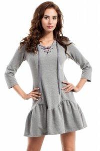 MOE244 Sukienka ze sznurkiem szara