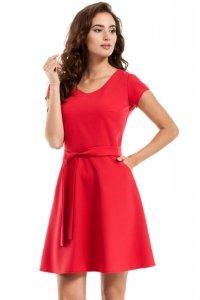 MOE246 Sukienka szmizjerka czerwona