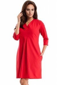 MOE251 Sukienka z podwójną plisą czerwona