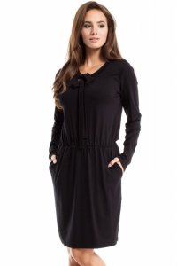 MOE252 Sukienka z wiskozy czarna
