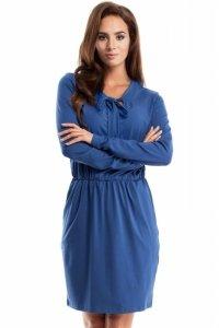 MOE252 Sukienka z wiskozy niebieska