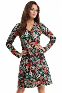 MOE257 Sukienka trapezowa - kwiatowy