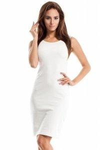 MOE258 Sukienka ze wstawkami tiulowymi w talii ecru