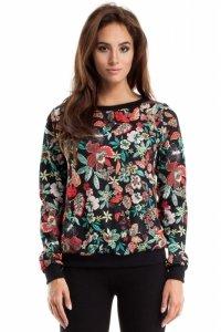 MOE264 Bluza ze ściągaczem wzór kwiatowy