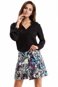 MOE269 Spódnica mini z zakładką geometryczny