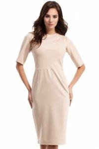 MOE276 sukienka beżowa