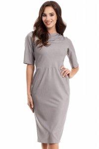 MOE276 sukienka szara