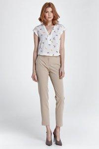 Eleganckie spodnie z rozcięciem - beż - SD28