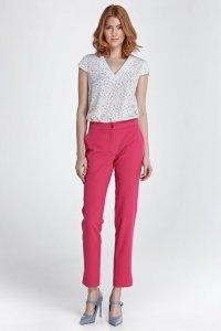 Eleganckie spodnie z rozcięciem - fuksja - SD28