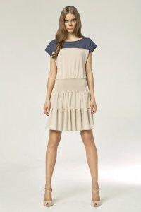 Dwukolorowa sukienka - beż - S45