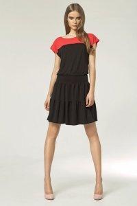 Dwukolorowa sukienka - czarny - S45