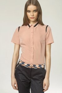 Koszula z lamówką - róż - K41
