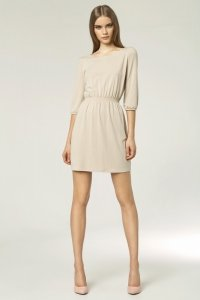 Modna sukienka - beż - S49