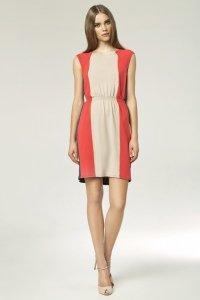 Trójkolorowa sukienka - beż - S47