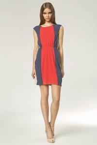 Trójkolorowa sukienka - koral - S47