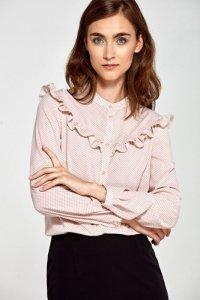 Bluzka z falbankami- róż/kropki - B82