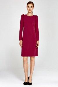 Sukienka z falbankami na ramionach - bordo - S89