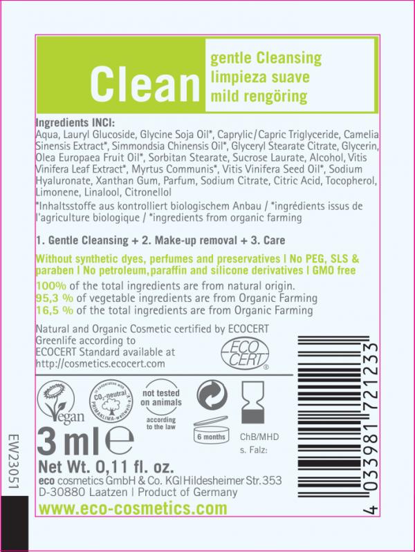 Eco Cosmetics Clean – mleczko łagodnie oczyszczające do twarzy 3 w 1 - próbka 3 ml