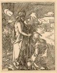 Dürer Albrecht - CHRYSTUS ukazujący się Marii Magdalenie - z cyklu Mała Pasja. Drzeworyt form. 12,6x9,6 cm.
