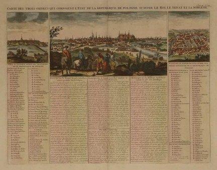[KRAKÓW, WARSZAWA, WILNO]. Carte des trois ordres qui composent l'Etat de la Republique de Pologne, sçavoir le Roi, le senant et la noblesse. Miedzioryt kolorowany form. 33,2x44,3 cm