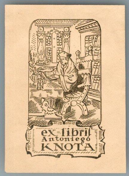 [Ekslibris]. TYROWICZ Ludwik — Ex libris Antoniego Knota. Cynkotypia form. ca 9x5,3 na ark. 10,9x7,8 cm, sygnowana na płycie monogramem L.T.